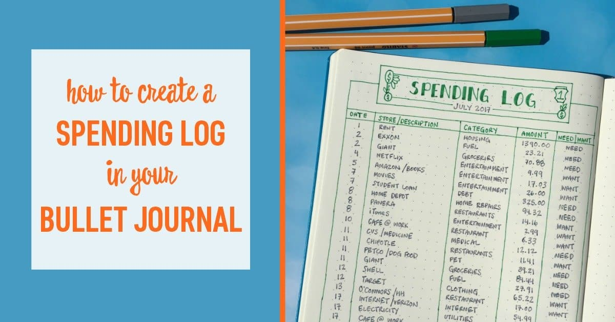 how to create a spending log in your bullet journal