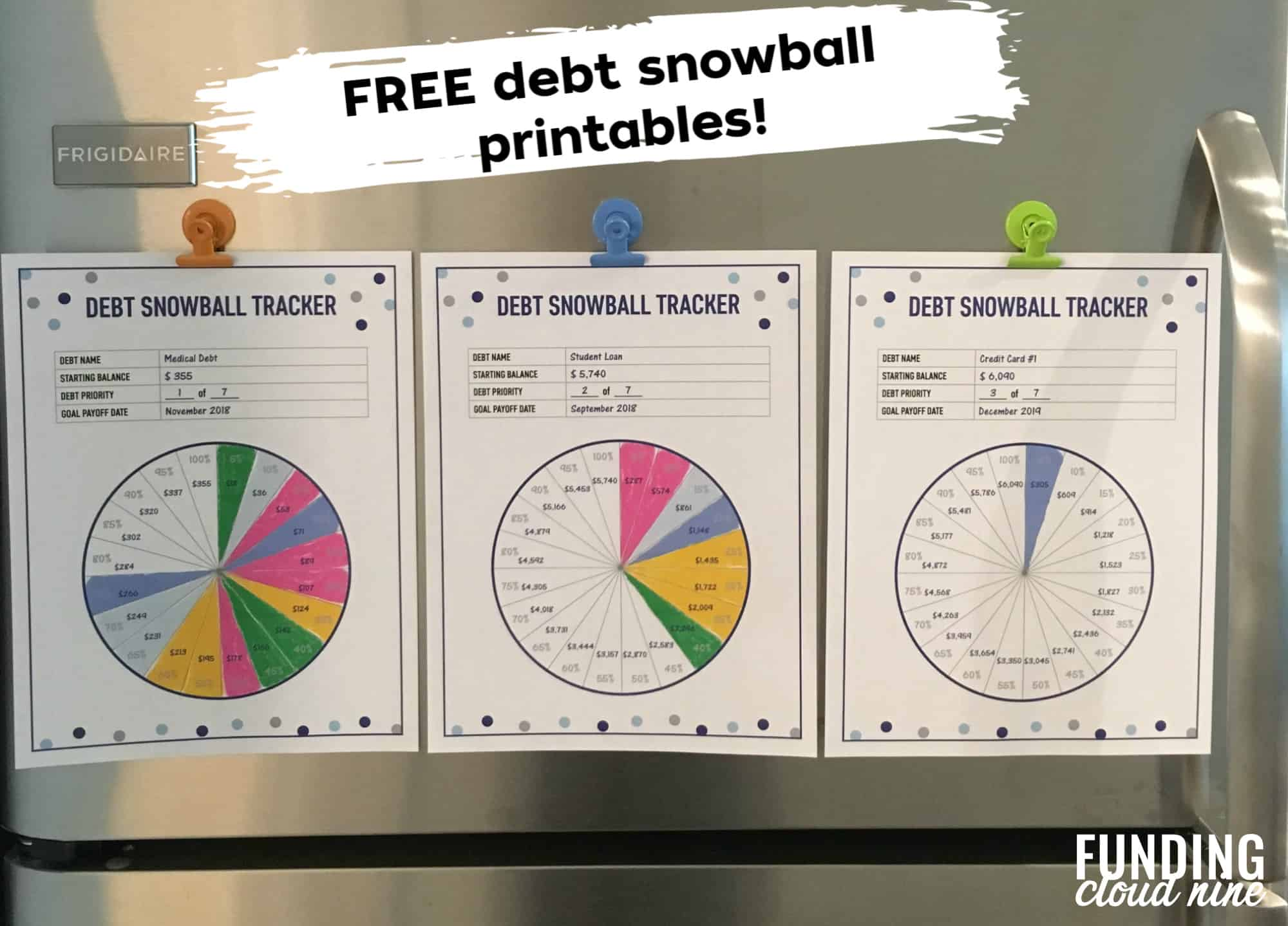 Debt snowball tracker examples on fridge to help you stay motivated during debt-free journey