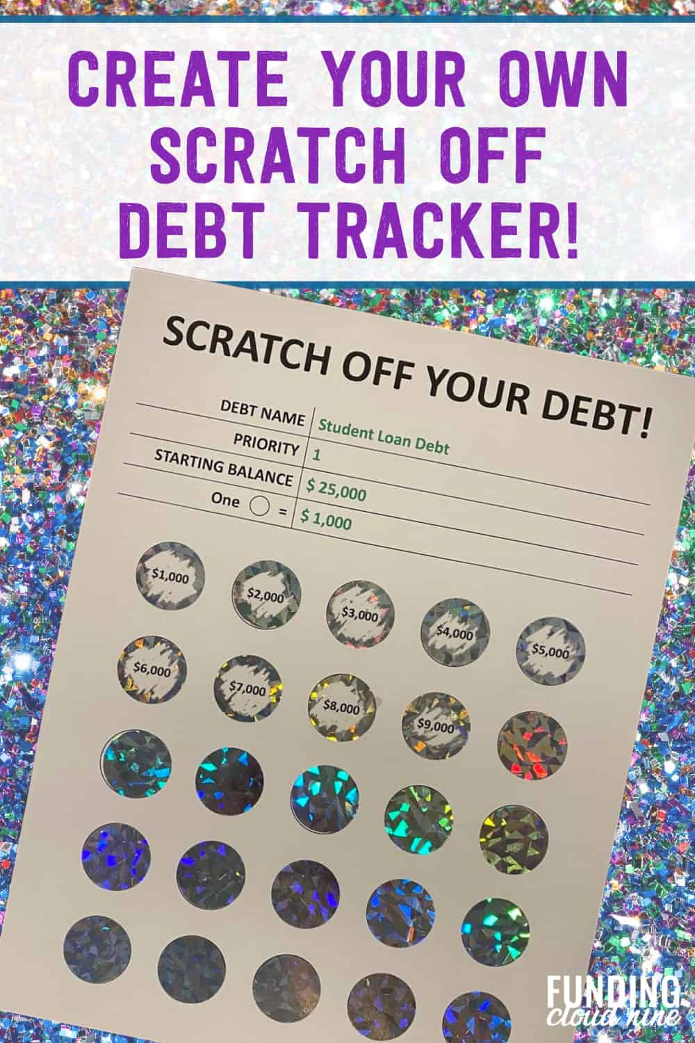 Pay off your debt fast with the help of a debt tracker, like this handmade scratch-off debt tracker