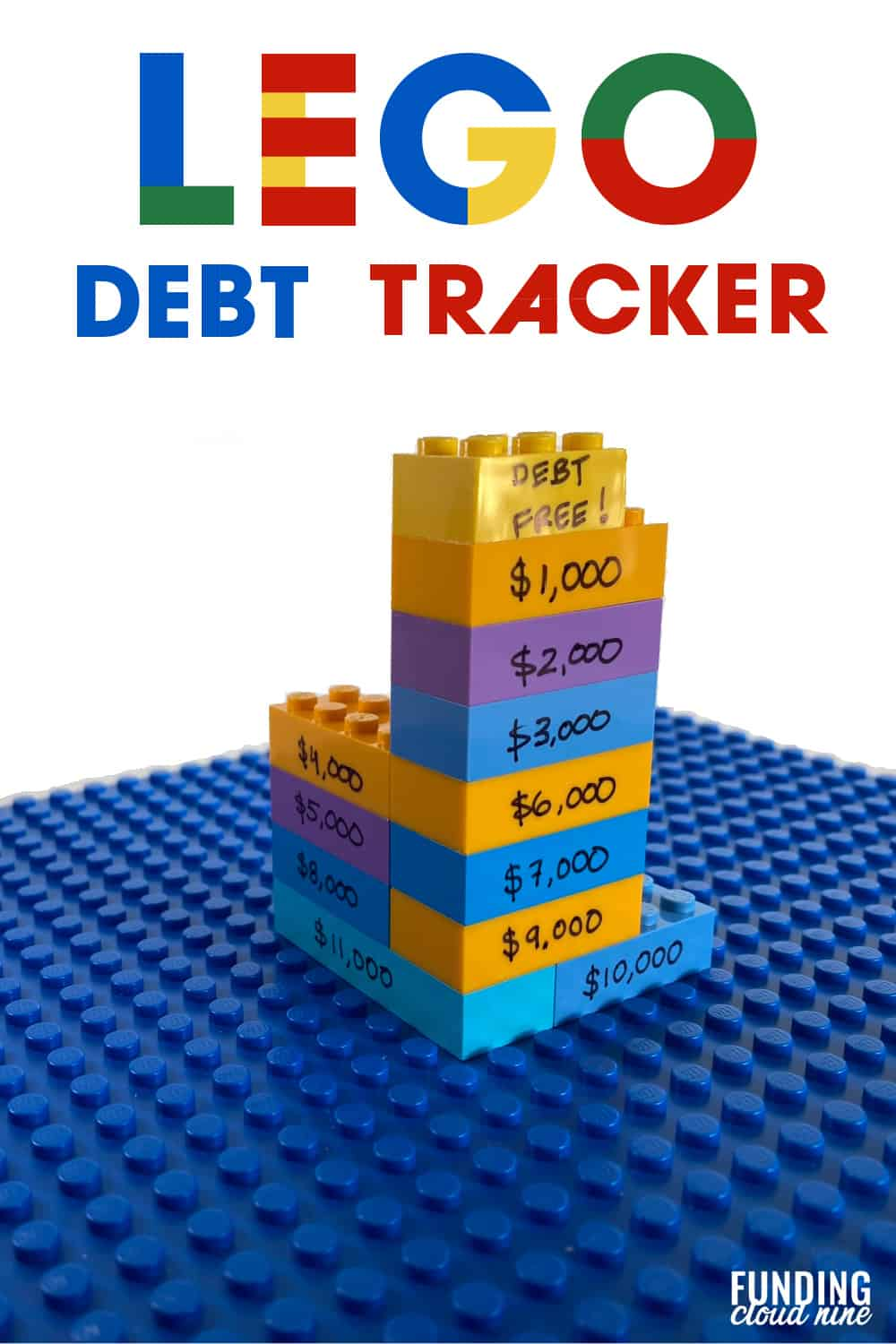 Get your kids involved in the debt payoff process. Create your own lego debt tracker and build your way to debt-freedom.