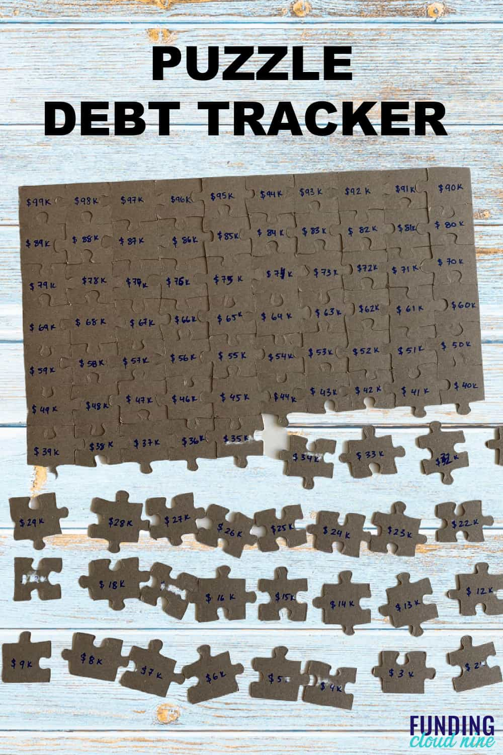 Piece together your debt-free journey with this puzzle debt tracker. Each piece represents a portion of your debt. Stay motivated as you work on paying off your debt and finishing your puzzle.