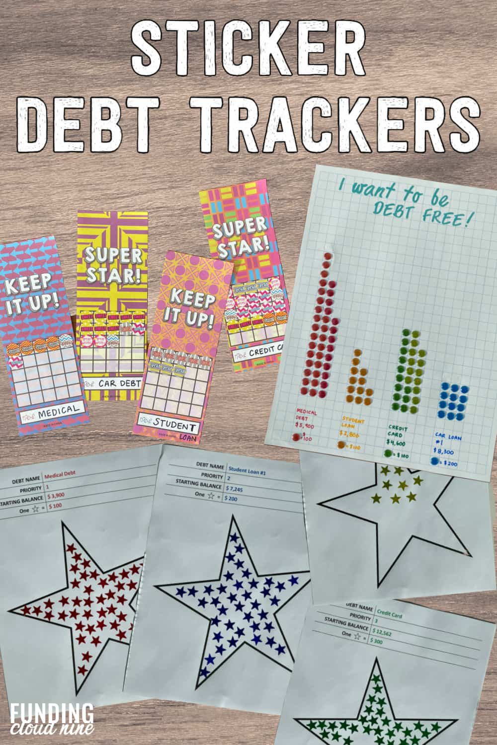 Pay off your debt fast and stay motivated by creating a sticker debt tracker